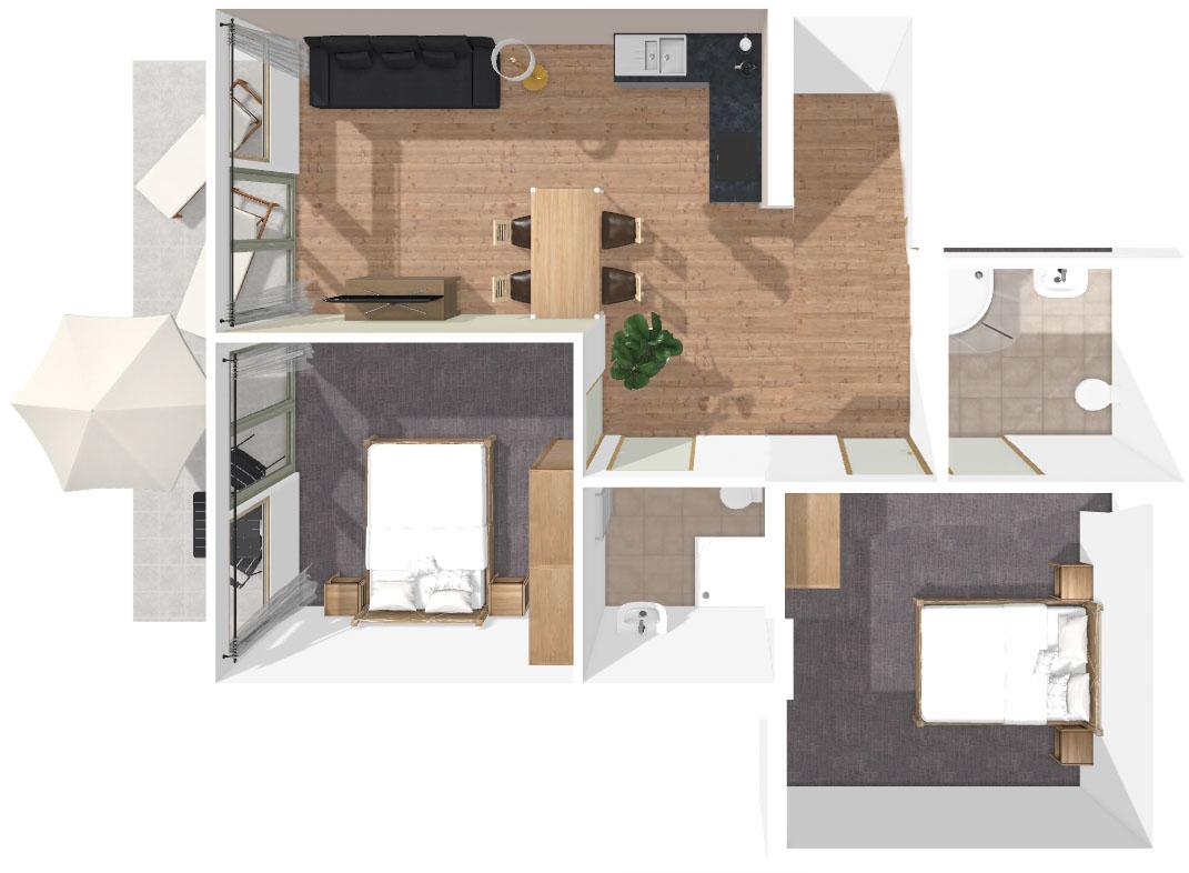 Grundriss Apartment Flimkanzel